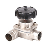 Stainless Steel Sanitary 3 Way Diaphragm Valves T Branch Type