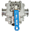 Hygienic Three Way Full Bore Non Retention Ball Valves Encapsulated PTFE Seat
